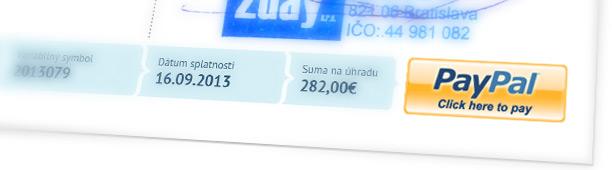 Tlačítko PayPal na faktúre