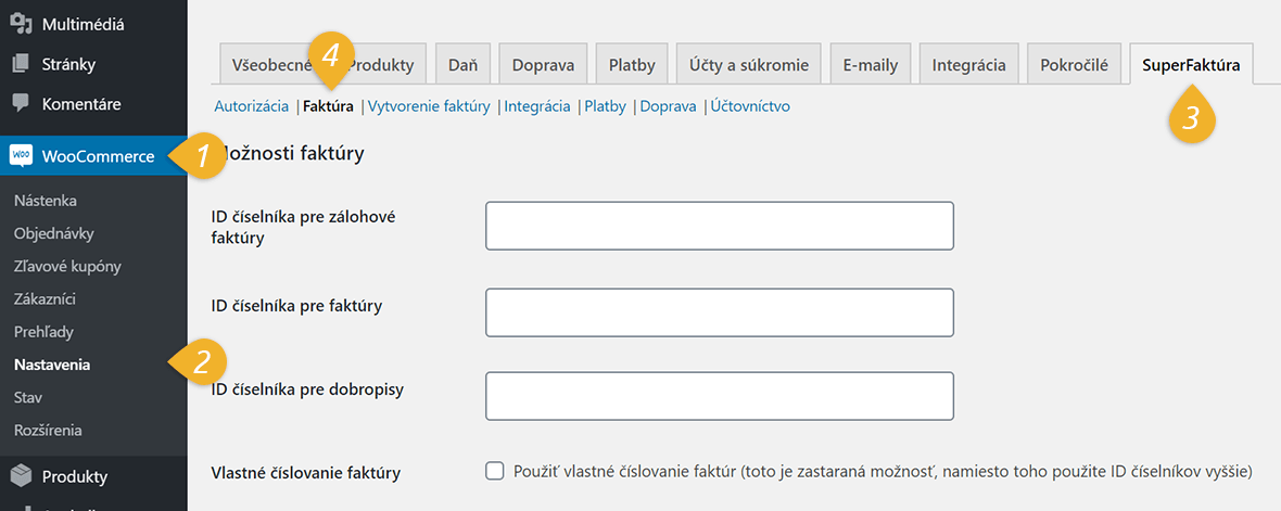 WooCommerce plugin SuperFaktura nastavenie cislovania
