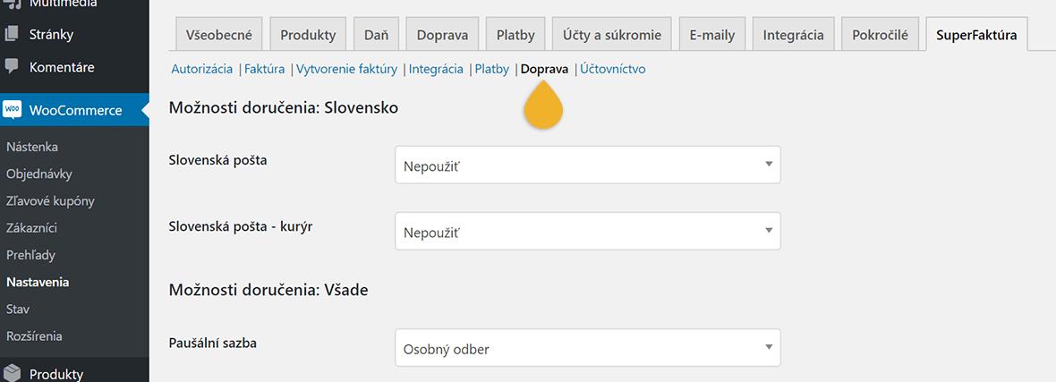 WooCommerce plugin SuperFaktura nastavenia Doprava