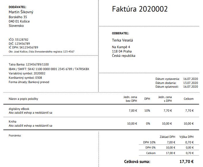 faktura s ebookom a knihou do CR