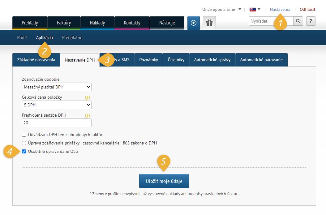 checkbox osobitna uprava dane OSS